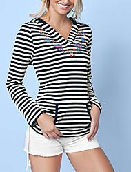 Sweat à capuche Femme Décontracté / Quotidien Sortie simple Chic de Rue Imprimé Rayé Micro-élastique Polyester Manches LonguesPrintemps