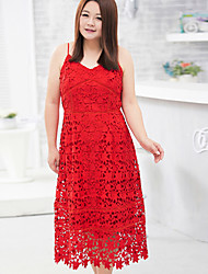 MsShe  Women's Special Occasion / Plus Size / Bridal Shower Vintage / Cute / Waist Cincher Lace DressSolid V Neck Maxi / Midi Sleeveless Red