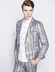 Men's European Style Slim Stripes A Dress Suit Striped Notch Lapel Long Sleeve Blue / Black / Gray Cotton / Polyester