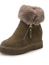 Women's Boots Winter Other Suede Fur Casual Platform Black Brown Walking