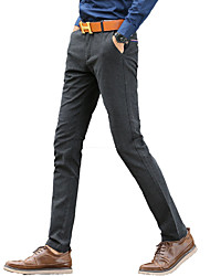 Men's Straight / Slim Pants,Casual/Daily / Work Polka Dot / Striped / Leopard Low Rise Zipper Cotton Micro-elastic Fall / Winter