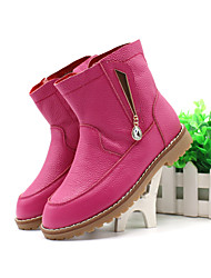 Girl's Boots Winter Others Leather Casual Flat Heel Zipper Pink / Fuchsia Walking