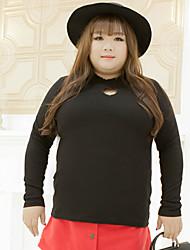Feminino Camiseta Casual / Tamanhos Grandes Simples Outono,Sólido Branco / Preto Algodão / Poliéster Colarinho Chinês Manga Longa