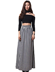 Women's Fine Stripe Black White Stripes Adult Maxi Skirt