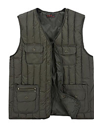 Men's Regular Down Coat,Simple Plus Size / Casual/Daily Solid-Polyester White Duck Down Sleeveless Blue / Green