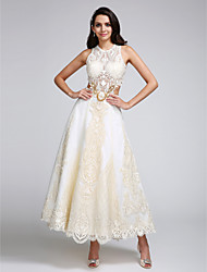 2017 Lanting Bride® A-line Wedding Dress - Chic & Modern Lacy Looks Ankle-length Jewel Lace / Satin with Appliques / Lace