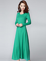 Women's Plus Size Simple Loose Dress,Solid Round Neck Maxi Long Sleeve Blue Red Green Modal Summer Mid Rise Stretchy Thin