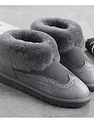 Real leather wool snow boots