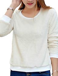 Damen Solide Einfach / Street Schick Ausgehen / Lässig/Alltäglich T-shirt,Rundhalsausschnitt Herbst / Winter Langarm BeigeBaumwolle /