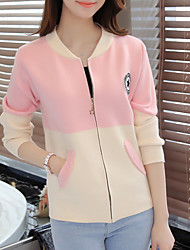 Women's Going out Party/Cocktail Vintage Street chic Sophisticated Regular Cardigan,Color Block Multi-color Round Neck Long Sleeve Cotton