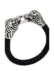 Kalen New Design Jewelry Punk 316 Stainless Steel Skull Dragon Tiger Biker Bracelets High Quality Leather Animal Men's Cool Bracelets Bangles Gifts