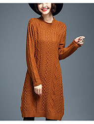 Women's Going out / Casual/Daily Boho Sweater Dress,Solid Round Neck Midi Long Sleeve Beige / Black / Gray / Orange Nylon Fall / Winter