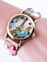 Женские Модные часы Часы-браслет / Кварцевый Кожа Группа Эйфелева башня ПовседневнаяЧерный Белый Красный Коричневый Розовый Хаки