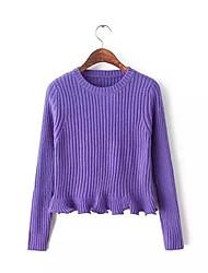 Damen Standard Pullover-Lässig/Alltäglich Einfach Solide Blau Rot Weiß Braun Orange Lila Rundhalsausschnitt LangarmKunstseide Nylon