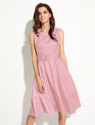 Women's Street chic Striped A Line Dress,Round Neck Midi Polyester