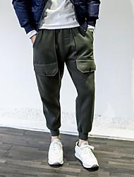 Masculino Harém Chinos Calças-Cor Única Casual Simples Cintura Média Com Cordão Algodão Micro-Elástico Com Molas / Outono