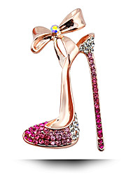 Women's Fashion Alloy/Rhinestone High Heels Gold-plating Brooches Pin Party/Daily/Wedding Luxury Jewelry 1pc