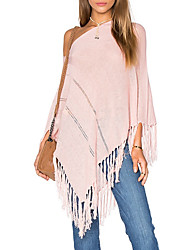 Women's Casual/Daily Sexy / Street chic Long Cloak / Capes,Solid Pink Off Shoulder ¾ Sleeve Polyester Fall Medium Micro-elastic