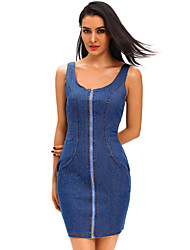Women's Zip Front Sleeveless Denim Mini Dress