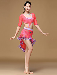 Belly Dance Dresses Women's Training Lace Lace / Pleated / Side-Draped 1 Piece Half Sleeve High Dress