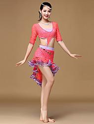 Dança do Ventre Vestidos Mulheres Treino Renda Renda / Plissado / Pano-Lateral 1 Peça Meia manga Alto Vestidos One Size=110cm