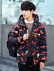 Men's Short Padded Coat,Simple Casual/Daily Camouflage-Cotton Cotton Long Sleeve Hooded Red / Black