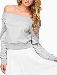 Damen Solide Einfach / Street Schick Ausgehen / Lässig/Alltäglich T-shirt Alle Saisons Langarm Grau Baumwolle / Kunstseide Dünn