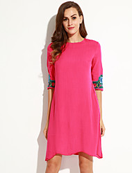 Women's Vintage Embroidered Loose Dress,Round Neck Knee-length Polyester