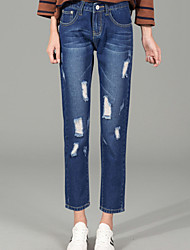 Women's Straight Loose  Jeans PantsGoing out Street chic Solid Patchwork High Rise Button Cotton Micro-elastic Winter