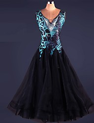 Danse de Salon Robes Spectacle Elasthanne Organza Dentelle Au drapée 1 Pièce Sans manche Taille haute Robe
