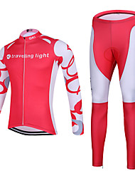 QKI Traveling Ligh Cycling Jersey with Tights Unisex Long Sleeve Bike Breathable / Quick Dry / Anatomic Design / Front Zipper / 3D Pad / Sweat-wicking