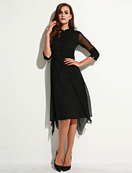 Women's Casual/Daily Vintage Sheath Dress,Solid Stand Asymmetrical ¾ Sleeve Black / Green Silk Spring
