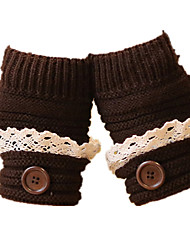 Knitted Warm Half-Button Button Gloves (Coffee Button Lace)
