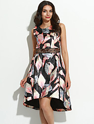 Women's Going out Sophisticated A Line Dress,Floral Round Neck Knee-length Sleeveless Polyester Fall High Rise Inelastic Medium