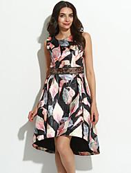 Feminino Evasê Vestido,Informal Sofisticado Floral Decote Redondo Altura dos Joelhos Sem Manga Preto Poliéster Outono Cintura AltaSem