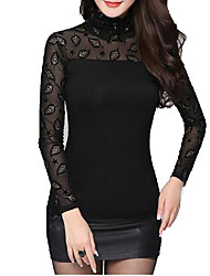 Women Autmn Elegant Lace TurtleNeck  Long Sleeve Pullover Highneck T Shirt