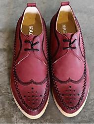 Для мужчин Туфли на шнуровке Удобная обувь Полиуретан Повседневный Черный Красный Менее 2,5 см