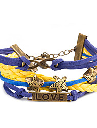 Women's Wrap Bracelet Leather Bracelet Bracelet Loom Bracelet Leather Alloy Punk Yellow Jewelry 1pc