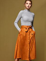Damen Röcke,A-Linie einfarbig Schleife,Lässig/Alltäglich Einfach Hohe Hüfthöhe Midi Kordelzug Polyester Micro-elastischRiemengurte /