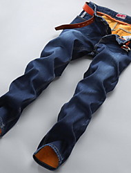 Men's Straight Jeans Pants,Casual/Daily Simple Solid Mid Rise Zipper Cotton Micro-elastic Winter