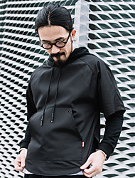 Men's Going out Active Hoodie Solid Round Neck Micro-elastic Cotton Long Sleeve Fall