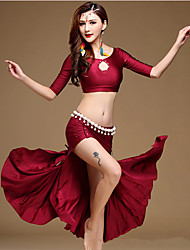 Belly Dance Outfits Women's Training Spandex Ruffles / Split Front 2 Pieces Half Sleeve Dropped Top / Skirt