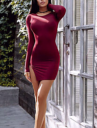 Women's Going out / Formal Sexy / Simple / Cute A Line Dress,Solid Round Neck Above Knee Long Sleeve Red / Black / Brown / Green Cotton
