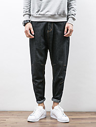 Men's Loose Jeans Pants,Casual/Daily Simple Solid Mid Rise Zipper Cotton Inelastic All Seasons