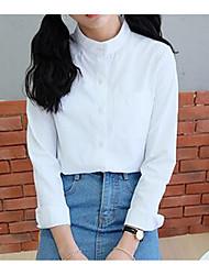 Feminino Camisa Social Informal / Casual / Formal Simples Primavera / Outono,Sólido Branco Pêlo Sintético Colarinho de Camisa Manga Longa