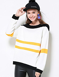 Mujer Regular Pullover Casual/Diario Simple,A Rayas Blanco Escote Redondo Manga Larga Rayón Otoño Grueso Microelástico