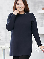 Mujer Regular Pullover Casual/Diario Tallas Grandes Simple,Un Color Azul Negro Escote Redondo Manga Larga Poliéster Nailon Otoño Invierno