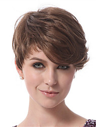 Capless Short Bobo Side Bang Kinky Curly Synthetic Wigs for Women Brown Heat Resistant with Free Hair Net