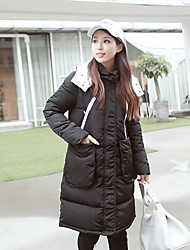 Women's Long Padded Coat,Cute / Chinoiserie Formal / Club Solid-Cotton Cotton Long Sleeve Hooded Black