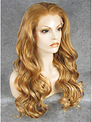 IMSTYLE 24''Popular Mix Brown Heat Resistant Long Wave Synthetic Lace Front Wig High Quality
